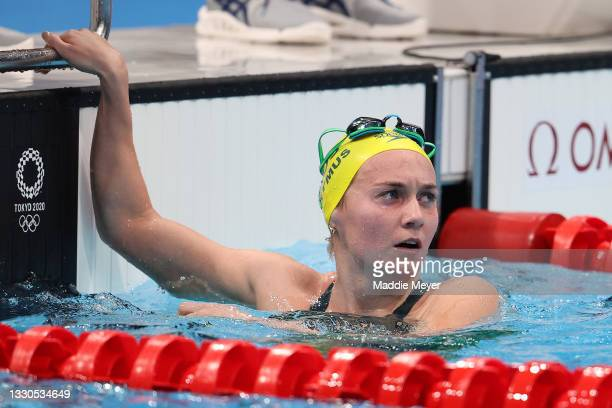 Ariarne Titmus of Team Australia looks on after winning the Women's 400m Freestyle heats on day two of the Tokyo 2020 Olympic Games at Tokyo Aquatics...