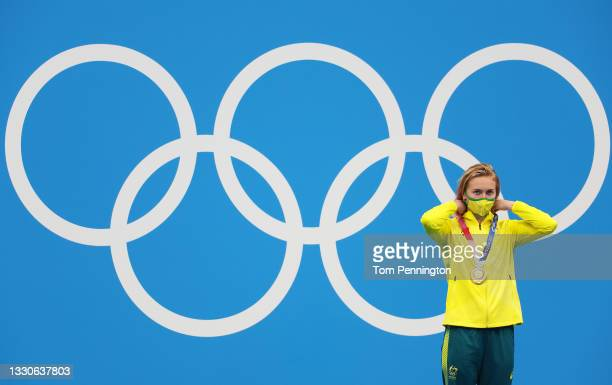 Ariarne Titmus of Team Australia poses with the gold medal for the Women's 400m Freestyle Final on day three of the Tokyo 2020 Olympic Games at Tokyo...