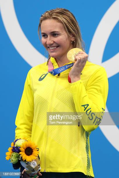 Ariarne Titmus of Team Australia poses with the gold medal for the Women's 200m Freestyle Final on day five of the Tokyo 2020 Olympic Games at Tokyo...