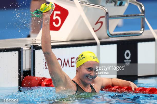 Ariarne Titmus of Team Australia reacts after winning the gold medal in the Women's 400m Freestyle Final on day three of the Tokyo 2020 Olympic Games...