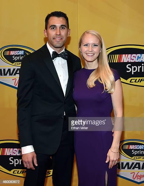 Aric Almirola and his wife Janice Almirola arrive at the 2014 NASCAR Sprint Cup Series Awards at Wynn Las Vegas on December 5 2014 in Las Vegas Nevada