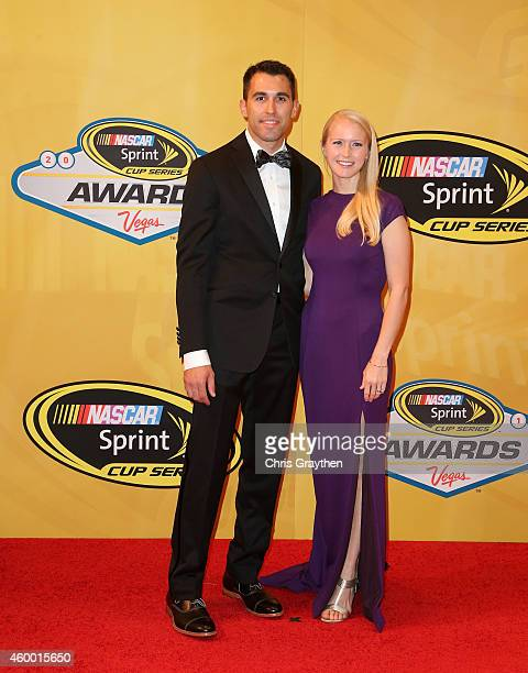 Aric Almirola and his wife Janice arrive on the red carpet prior to the 2014 NASCAR Sprint Cup Series Awards at Wynn Las Vegas on December 5 2014 in...