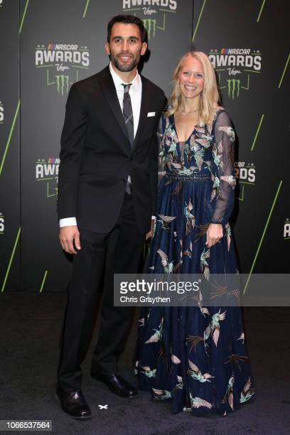 Aric Almirola and his wife Janice attend the Monster Energy NASCAR Cup Series Awards Celebration at the Wynn Las Vegas on November 29 2018 in Las...