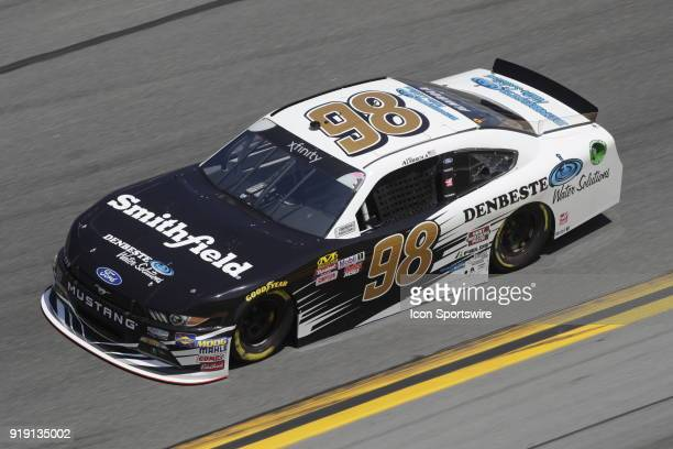 Aric Almirola BiagiDenBeste Racing Smithfield/ DenBeste Water Solutions Ford Mustang during practice for the 37th annual Powershares QQQ 300 on...