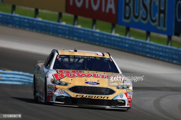 Aric Almirola driver of the Go Bowling Ford practices for the Monster Energy NASCAR Cup Series GoBowling at The Glen at Watkins Glen International on...
