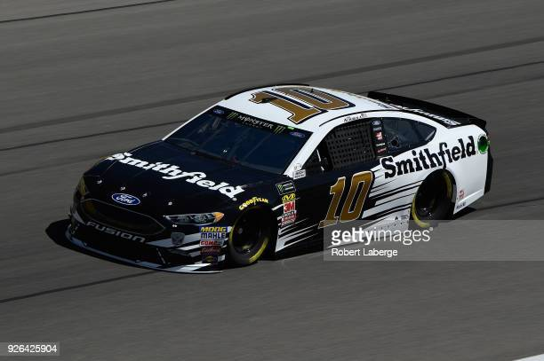 Aric Almirola driver of the Smithfield Ford drives during practice for the Monster Energy NASCAR Cup Series Pennzoil 400 presented by Jiffy Lube at...