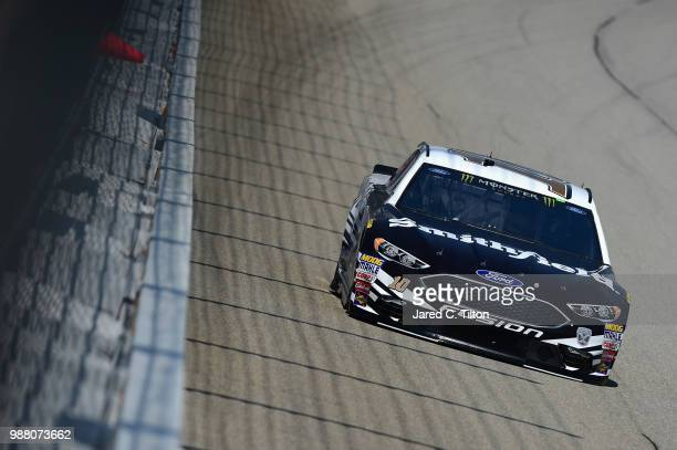 Aric Almirola driver of the Smithfield Ford drives during practice for the Monster Energy NASCAR Cup Series Overton's 400 at Chicagoland Speedway on...