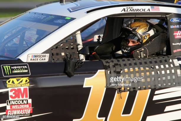 Aric Almirola driver of the Smithfield Ford drives on the grid during qualifying for the Monster Energy NASCAR Cup Series Folds of Honor QuikTrip 500...