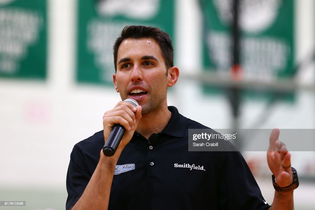 Aric Almirola, driver of the #10 Smithfield Ford Fusion for Stewart-Haas Racing in the Monster Energy NASCAR Cup Series, speaks to honor-roll students at Pierce Middle School on February 13, 2018 in Tampa, Florida.