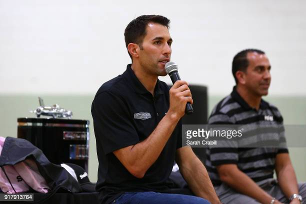 Aric Almirola driver of the Smithfield Ford Fusion for StewartHaas Racing in the Monster Energy NASCAR Cup Series and Principal Pablo Gallego speak...