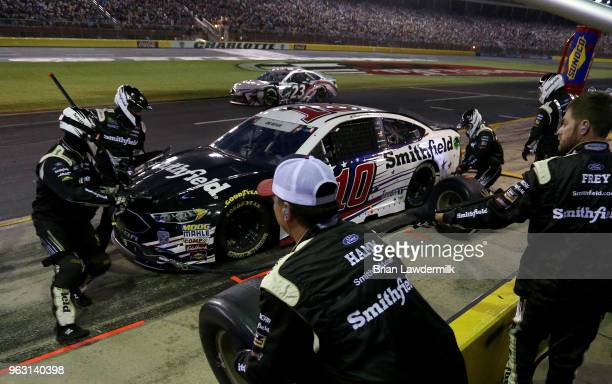 Aric Almirola driver of the Smithfield Ford pits during the Monster Energy NASCAR Cup Series CocaCola 600 at Charlotte Motor Speedway on May 27 2018...