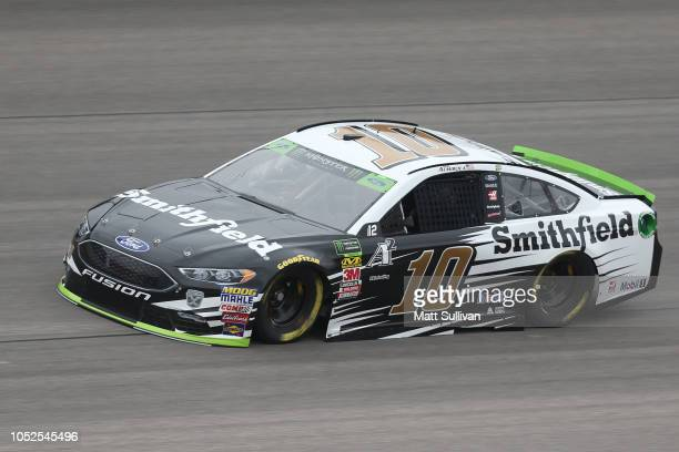 Aric Almirola driver of the Smithfield Ford practices for the Monster Energy NASCAR Cup Series Hollywood Casino 400 at Kansas Speedway on October 19...