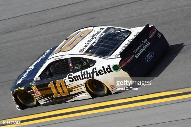 Aric Almirola driver of the Smithfield Ford practices for the Monster Energy NASCAR Cup Series Daytona 500 at Daytona International Speedway on...