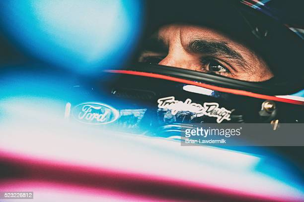 Aric Almirola driver of the Smithfield Ford prepares to drive during practice for the NASCAR Sprint Cup Series TOYOTA OWNERS 400 at Richmond...