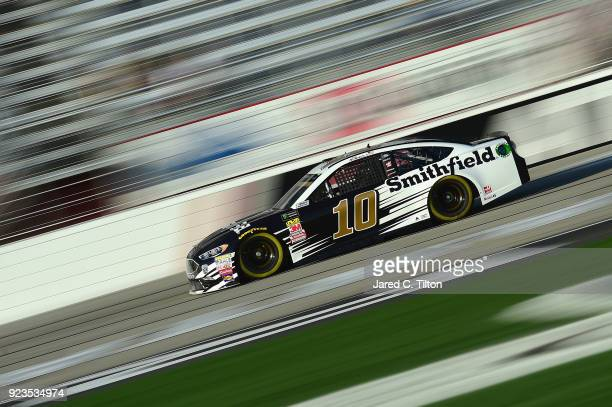 Aric Almirola driver of the Smithfield Ford qualifies for the Monster Energy NASCAR Cup Series Folds of Honor QuikTrip 500 at Atlanta Motor Speedway...