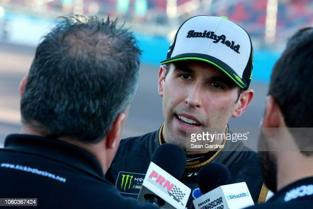 Aric Almirola driver of the Smithfield Ford speaks with the media following the Monster Energy NASCAR Cup Series CanAm 500 at ISM Raceway on November...