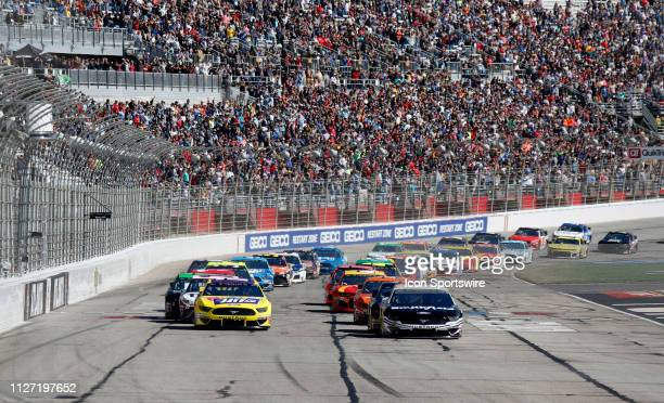 Aric Almirola StewartHaas Racing Ford Mustang Smithfield Ricky Stenhouse Jr Roush Fenway Racing Ford Mustang Little Hug restart the field during the...