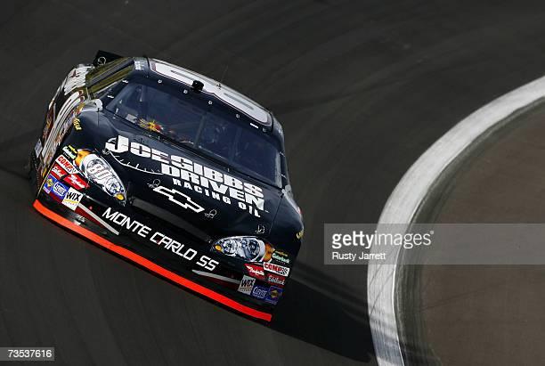 Aric Armirola driver of the Joe Gibbs Driven Chevrolet drives during practice for the NASCAR Nextel Cup Series UAWDaimlerChrysler 400 at Las Vegas...