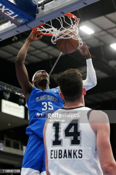 Aric Holman of the Texas Legends dunks the ball during the second quarter against the Austin Spurs on February 01 2020 at Comerica Center in Frisco...