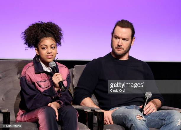 Arica Himmel and MarkPaul Gosselaar attend the SCAD aTVfest 2020 Mixedish Panel on February 29 2020 in Atlanta Georgia