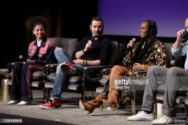 Arica Himmel MarkPaul Gosselaar and Tika Sumpter attend the SCAD aTVfest 2020 Mixedish Panel on February 29 2020 in Atlanta Georgia