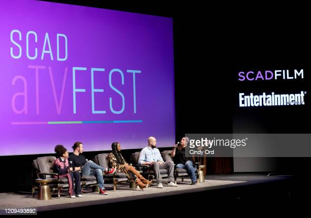 Arica Himmel MarkPaul Gosselaar Tika Sumpter and Peter Saji attend the SCAD aTVfest 2020 Mixedish Panel on February 29 2020 in Atlanta Georgia