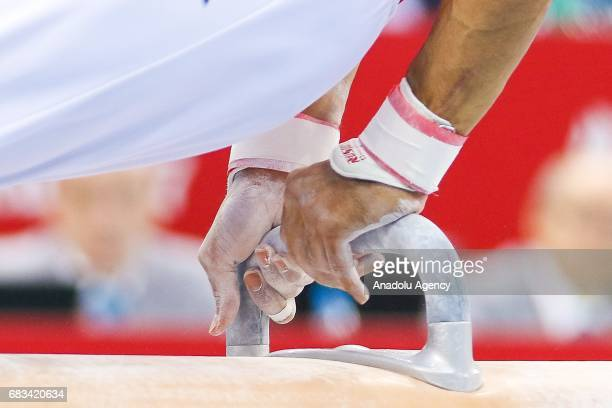 Arican Ferhat of Turkey competes in the Men's Pommel Horse Final during day four of Baku 2017 4th Islamic Solidarity Games at the National Gymnastics...