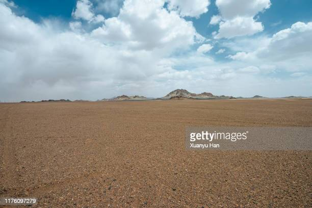 arid desert with mountains - 荒野 ストックフォトと画像