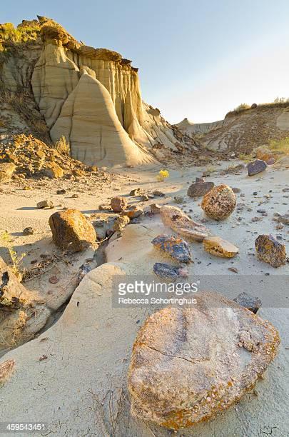 Arid landscape with hoodoos and broken rocks