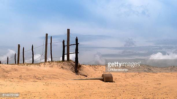 arid scenery under blue sky. - crmacedonio stock photos and pictures