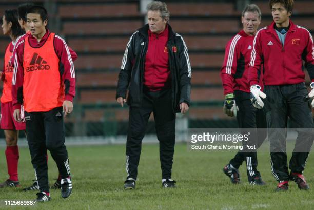 Arie Haan coach of China World Cup soccer team training at Mong Kok Stadium 29 March 2004