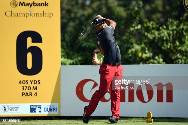 Arie Irawan of Malaysia in action during Day One of the Maybank Championship Malaysia at Saujana Golf and Country Club on February 9 2017 in Kuala...