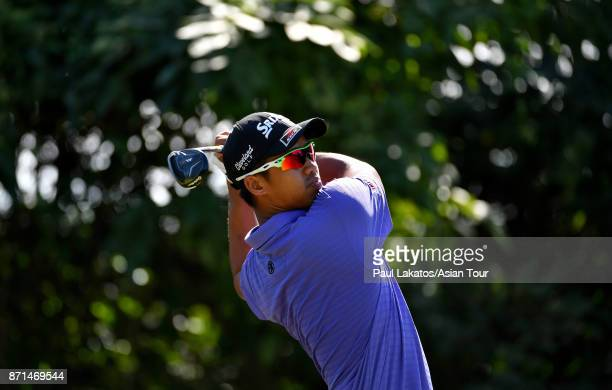 Arie Irawan of Malaysia plays a shot during practice for the Resorts World Manila Masters at Manila Southwoods Golf and Country Club on November 8...