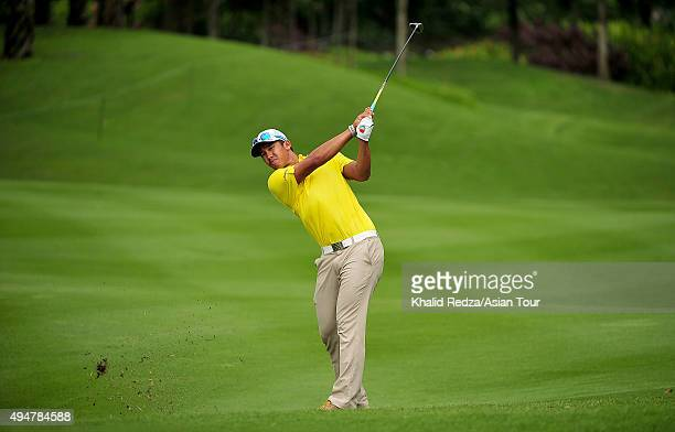 Arie Irawan of Malaysia plays a shot during round one of the CIMB Classic at Kuala Lumpur Golf Country Club on October 29 2015 in Kuala Lumpur...