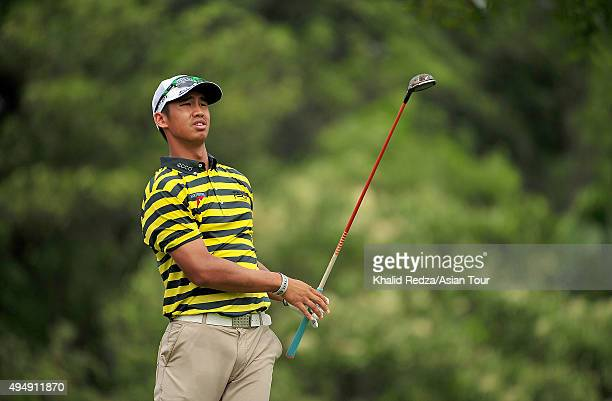 Arie Irawan of Malaysia plays a shot during round two of the CIMB Classic at Kuala Lumpur Golf Country Club on October 30 2015 in Kuala Lumpur...
