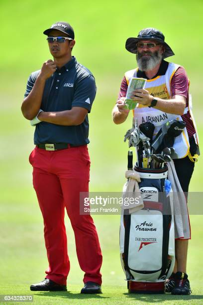 Arie Irawan of Malaysia ponders a shot during Day One of the Maybank Championship Malaysia at Saujana Golf Club on February 9 2017 in Kuala Lumpur...