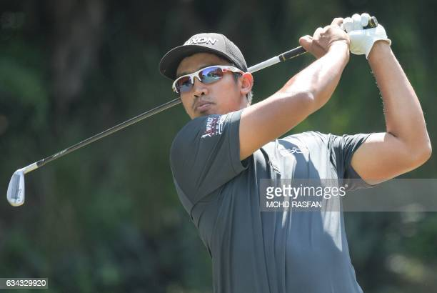 CORRECTION Arie Irawan of Malaysia tees off during the first round of the 2017 Maybank Malaysia Championship golf tournament at Saujana Golf and...