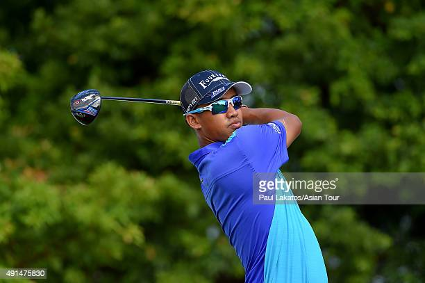Arie Irawan plays a shot during practice ahead of the Yeangder Tournament Players Championship at Linkou lnternational Golf and Country Club on...