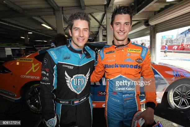 Arie Luyendyk Jr from the Bachelor poses for a photo with Nick Percat driver of the Brad Jones Racing Commodore ZB after a hot lap during qualifying...