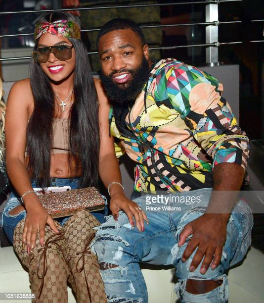 Arie Nicole and Adrien Broner attend 'Drip Harder' album release Party at Story Nightclub on October 6 2018 in Miami Beach Florida