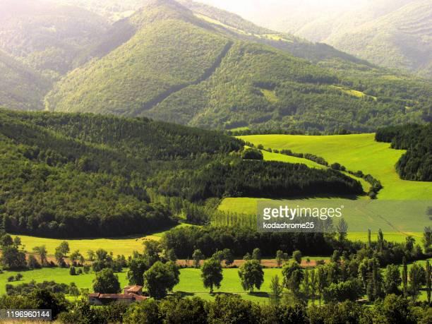 アリエージュ山と田舎の風景、ピレネーフランス。 - アリエージュ ストックフォトと画像