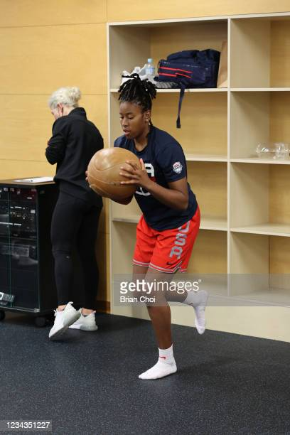 Ariel Atkins of the USA Women's National Team lifts weights during the USA Basketball Womens National Team practice on July 29, 2021 in Tokyo, Japan....