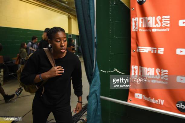 Ariel Atkins of the Washington Mystics arrives before the game against the Seattle Storm during Game Three of the 2018 WNBA Finals on September 12...