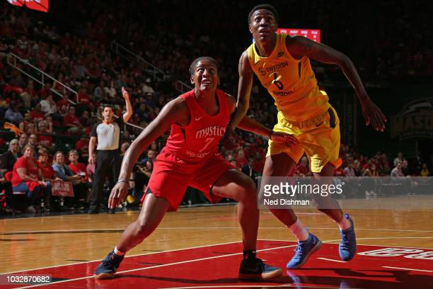 Ariel Atkins of the Washington Mystics boxes out Natasha Howard of the Seattle Storm in Game Three of the 2018 WNBA Finals on September 12 2018 at...