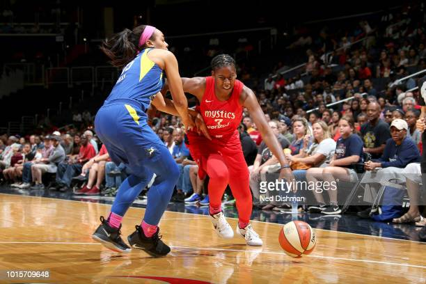 Ariel Atkins of the Washington Mystics drives to the basket against the Dallas Wings on August 12 2018 at the Capital One Arena in Washington DC NOTE...