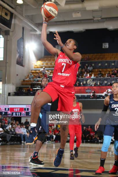 Ariel Atkins of the Washington Mystics goes to the basket against the Atlanta Dream during Game Four of the WNBA Semifinals on September 2 2018 at...