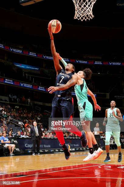 Ariel Atkins of the Washington Mystics goes to the basket against the New York Liberty on July 5 2018 at the Verizon Center in Washington DC NOTE TO...