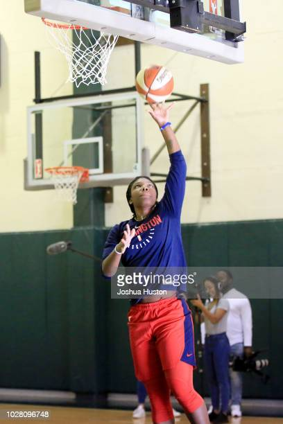Ariel Atkins of the Washington Mystics goes to the basket during the 2018 WNBA Finals Practice on September 6 2018 at Seattle Pacific University in...