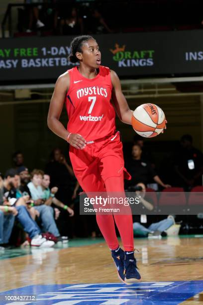 Ariel Atkins of the Washington Mystics handles the ball against the New York Liberty on July 21 2018 at Westchester County Center in White Plains New...