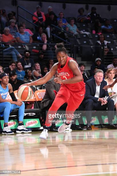 Ariel Atkins of the Washington Mystics handles the ball against the Atlanta Dream on July 31 2018 at McCamish Pavilion in Atlanta Georgia NOTE TO...